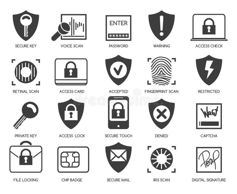 Biznesowych dane ochrony ikony ilustracja wektor