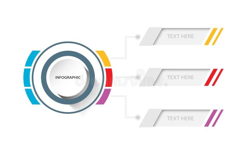 Biznesowych dane prezentaci infographic szablon z 3 opcjami, c royalty ilustracja