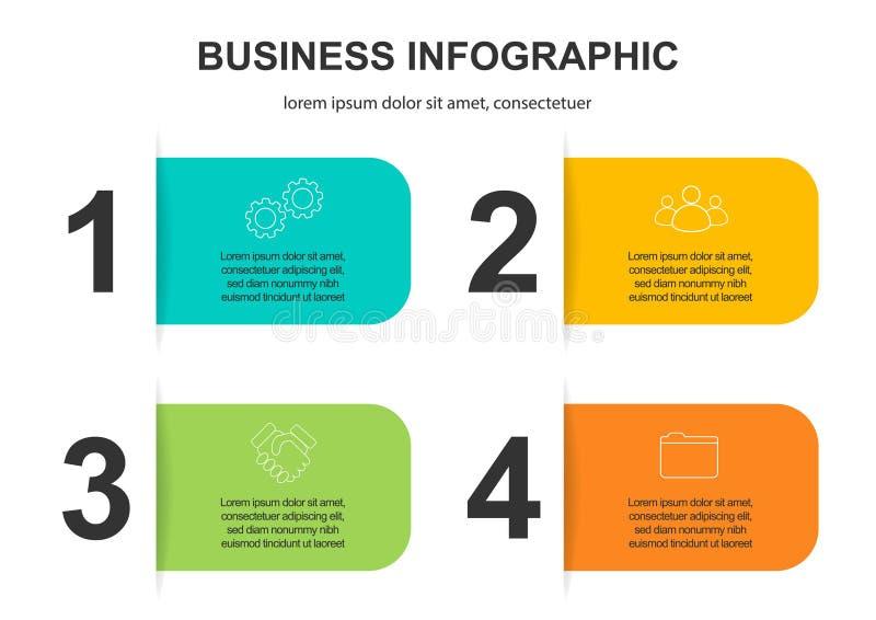 Biznesowych dane unaocznienie Abstrakcjonistyczni elementy wykres, diagram z krokami, opcje, cz??ci lub procesy, wektor ilustracji