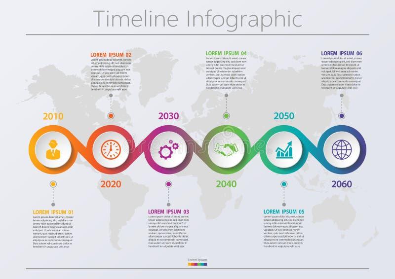 Biznesowych dane unaocznienie. ikony infograficzne osi czasu zaprojektowane dla abstrakcyjnego szablonu tÅ'a z 6 opcjami zdjęcie royalty free