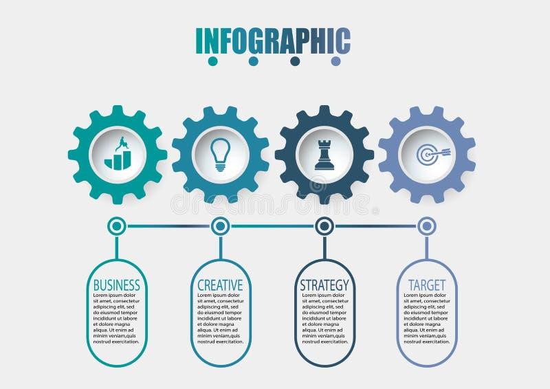 Biznesowych dane unaocznienie linia czasu infographic ikony projektowa? dla abstrakcjonistycznego t?o szablonu obraz stock