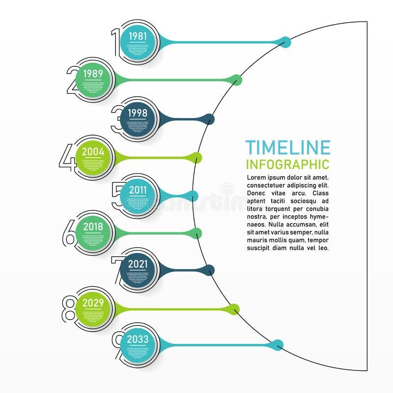 Biznesowych dane unaocznienie Proces mapa Abstrakcjonistyczni elementy wykres, diagram z 9 krokami, opcje, części lub procesy, we royalty ilustracja
