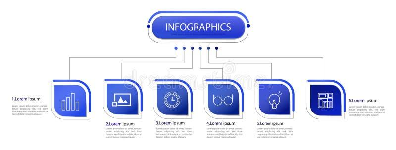 Biznesowych dane unaocznienie Proces mapa Abstrakcjonistyczni elementy wykres, diagram z krokami, opcje, części lub procesy, wekt royalty ilustracja