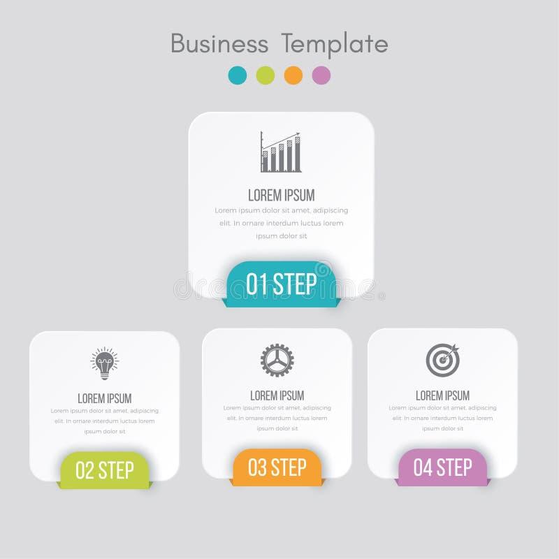 Biznesowych dane unaocznienie Proces mapa Abstrakcjonistyczni elementy wykres, diagram z krokami, opcje, cz??ci lub procesy, wekt ilustracja wektor