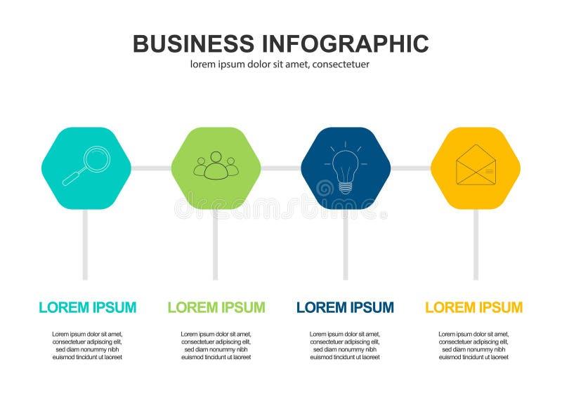 Biznesowych dane unaocznienie Proces mapa Abstrakcjonistyczni elementy wykres, diagram z 4 krokami, opcje, cz??ci lub procesy, we ilustracja wektor