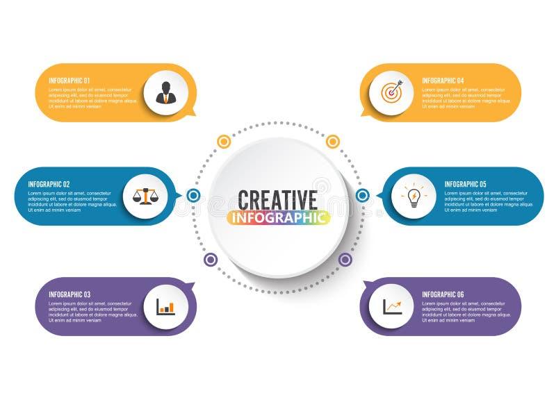 Biznesowych dane unaocznienie Proces mapa Abstrakcjonistyczni elementy wykres, diagram z krokami, opcje, cz??ci lub procesy, wekt royalty ilustracja