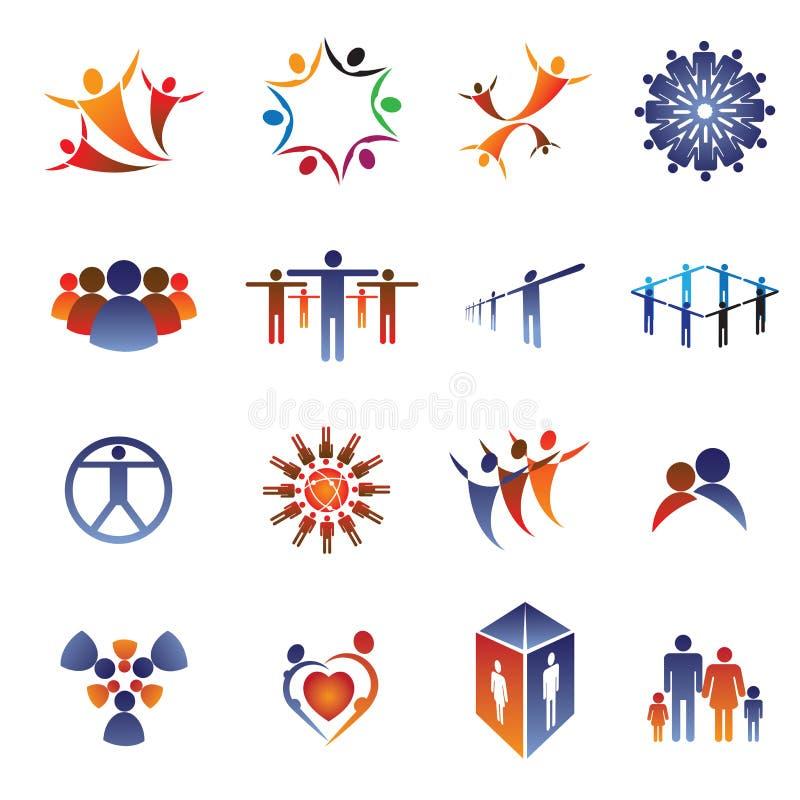 biznesowych elementów rodzinni ikony ludzie ustawiającej drużyny ilustracja wektor