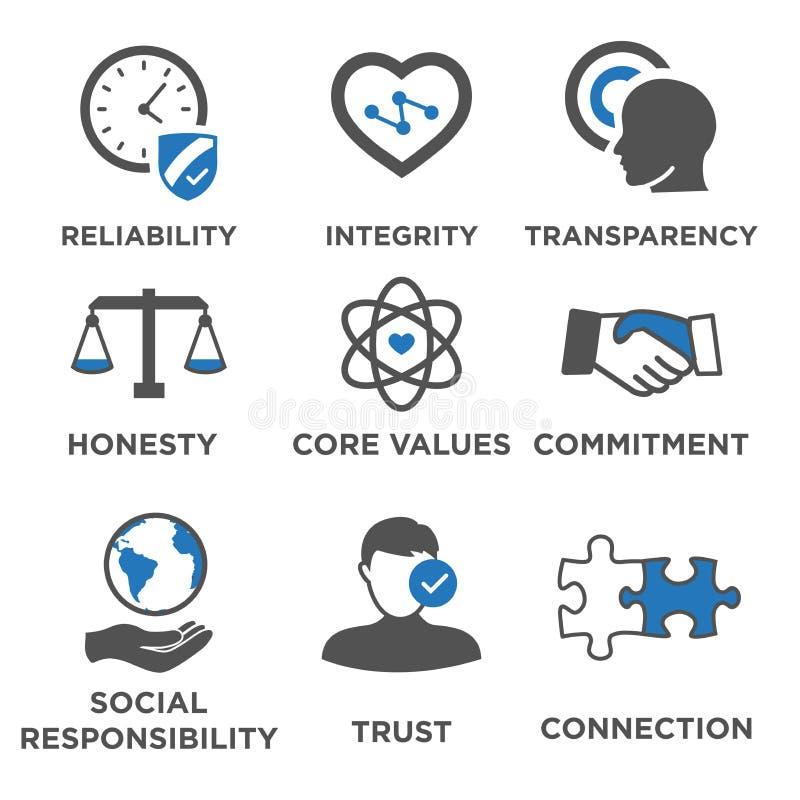 Biznesowych etyk ikony Stały set royalty ilustracja