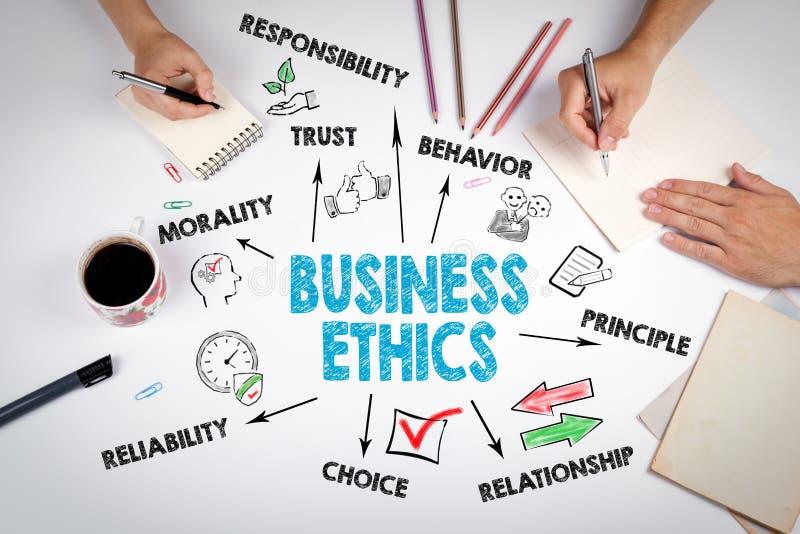 Biznesowych etyk pojęcie Spotkanie przy białym biuro stołem obraz royalty free