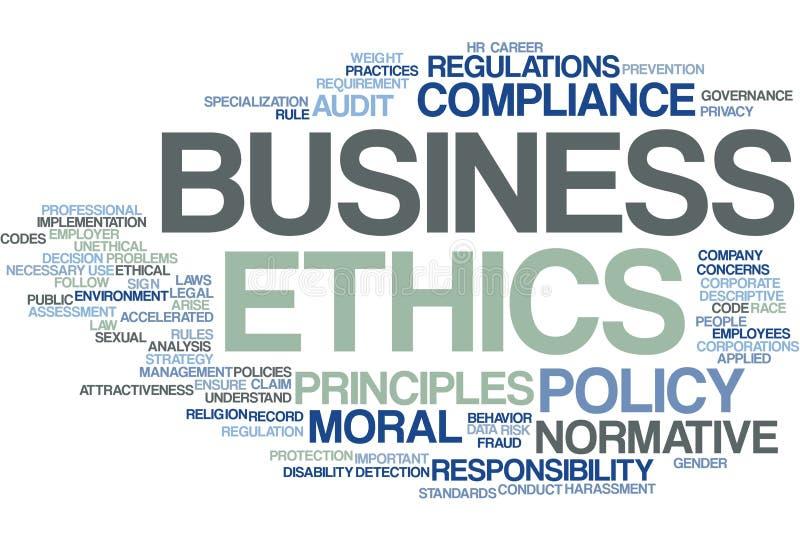 Biznesowych etyk słowa chmura ilustracja wektor