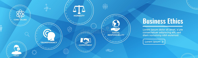 Biznesowych etyk sieci sztandaru ikona Ustawiająca z rzetelnością, prawość, Com ilustracja wektor