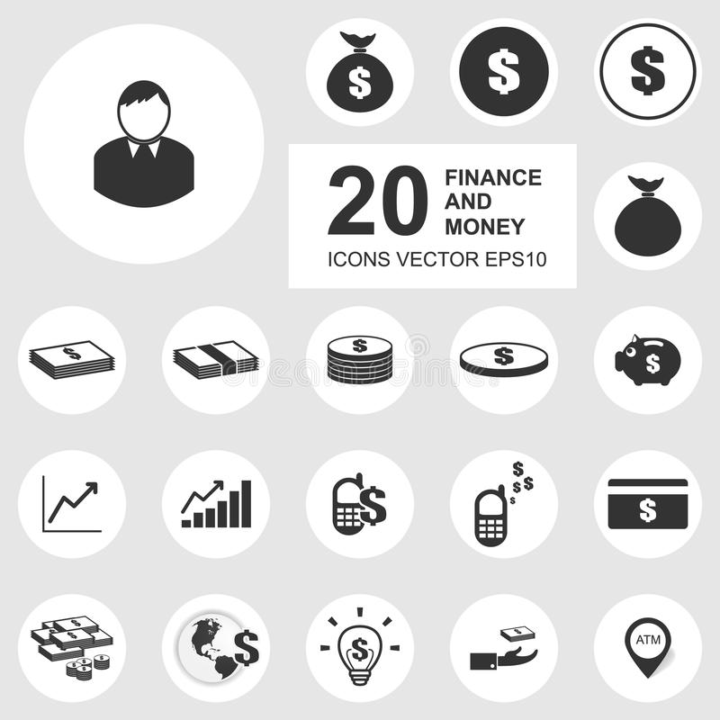 20 biznesowych ikon, finanse, pieniądze ikony set. royalty ilustracja
