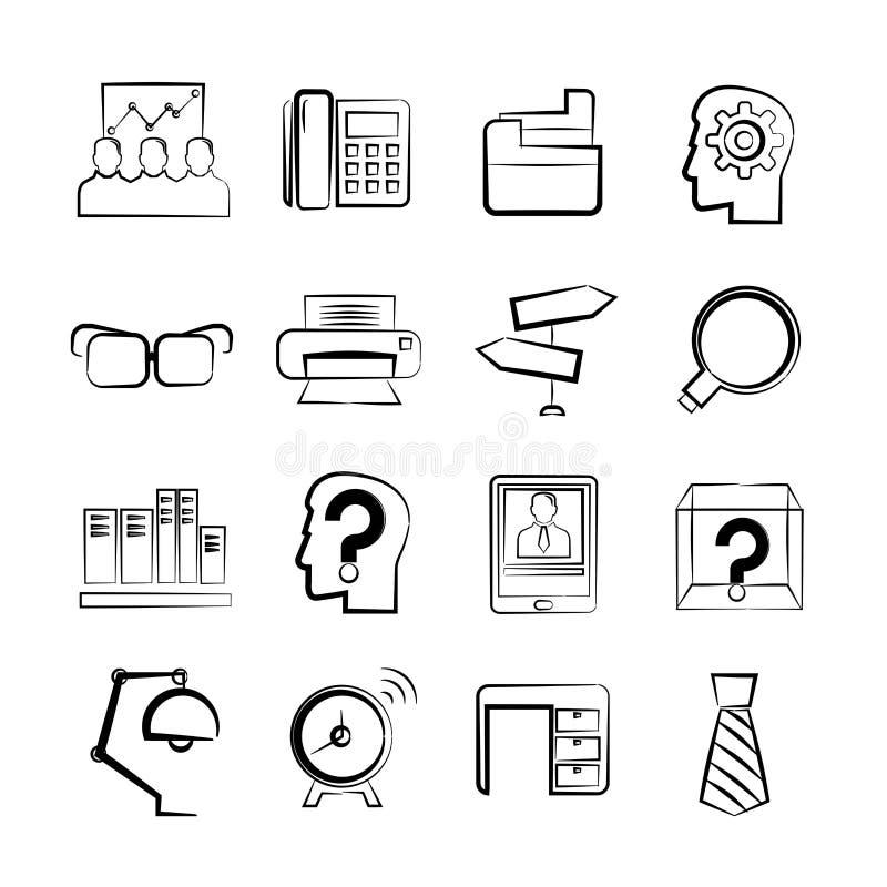 biznesowych ikon ilustracyjny biura wektor royalty ilustracja