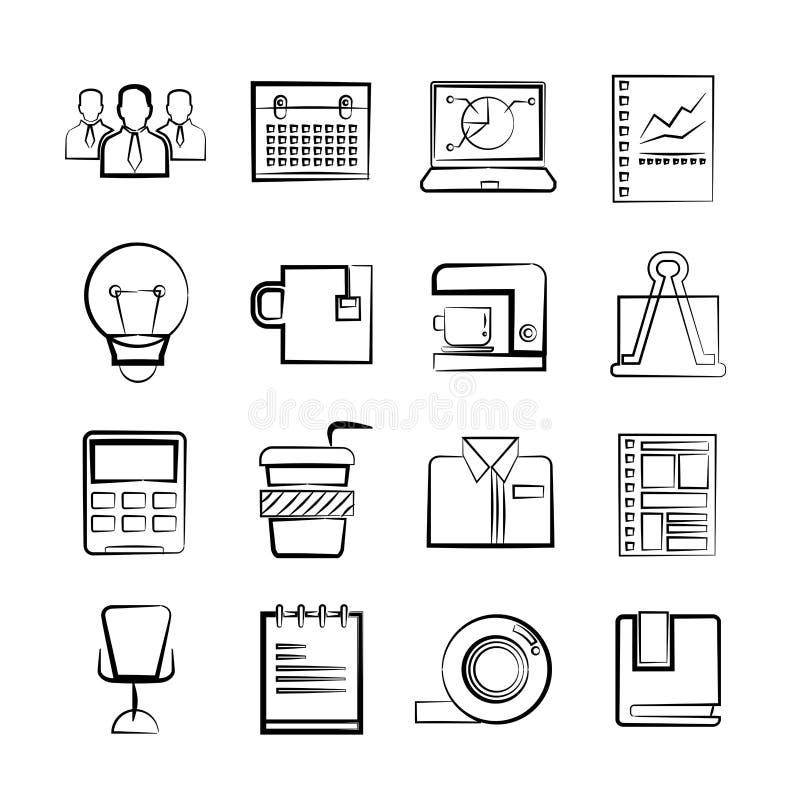 biznesowych ikon ilustracyjny biura wektor ilustracji