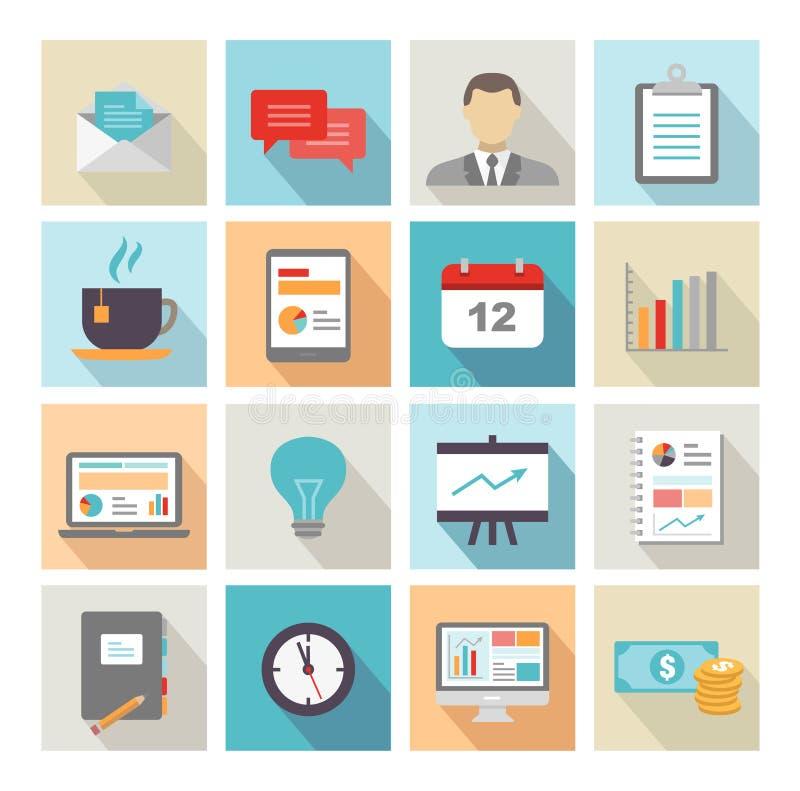 Biznesowych ikon Płaski projekt ilustracja wektor