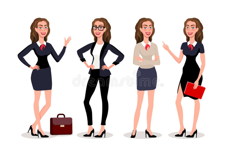 Biznesowych kobiet dialog Wektorowy ilustracyjny isolatede Elegancka ładna biznesowa kobieta w formalnym odziewa Podstawowa garde ilustracji