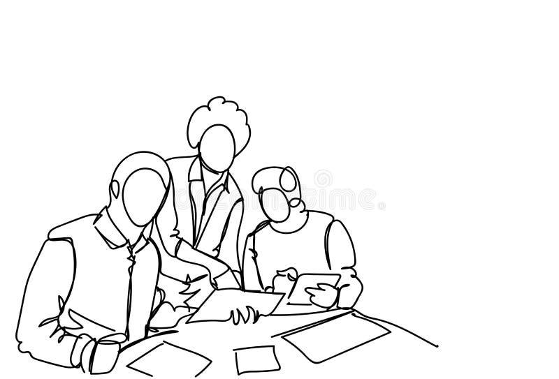 Biznesowych mężczyzna Drużynowy działanie Wpólnie Przy Nowym rozpoczęciem Podczas Brainstorming spotkania Doodle Prostego stylu royalty ilustracja