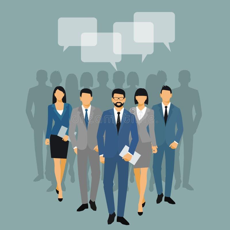 Biznesowych m??czyzna i kobiet sylwetka drużynowi ludzie biznesu grupa chwyta dokumentu falcówek na błękitnym tle Ludzie biznesu  ilustracja wektor