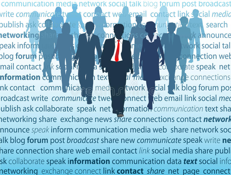 biznesowych pojęć medialni sieci ludzie ogólnospołeczni ilustracja wektor