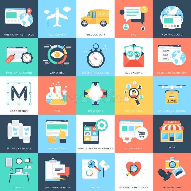Biznesowych pojęć Wektorowe ikony 5 ilustracji