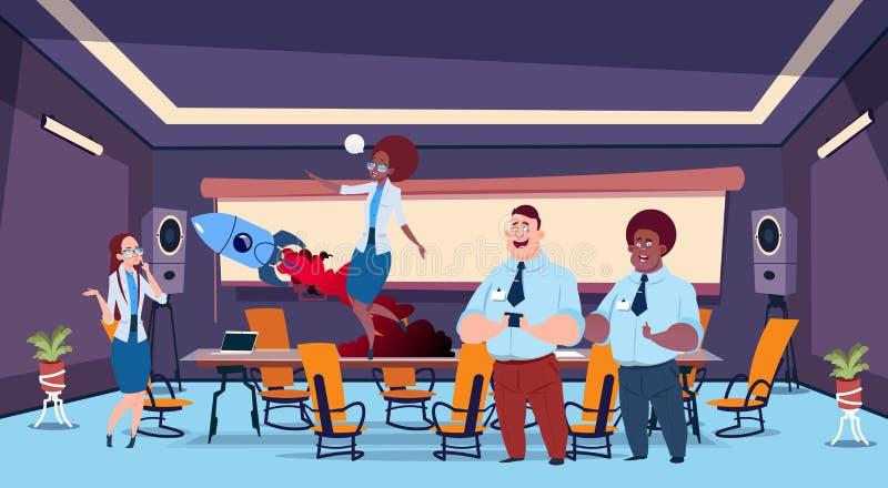 Biznesowych prezentacja bąbla pojęcia biznesmenów lota fantazj brainstorming drużynowa grupa ludzie biznesu ilustracji