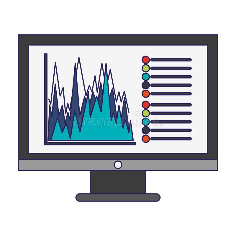 Biznesowych statystyk wykres na ekran komputerowy niebieskich liniach ilustracji