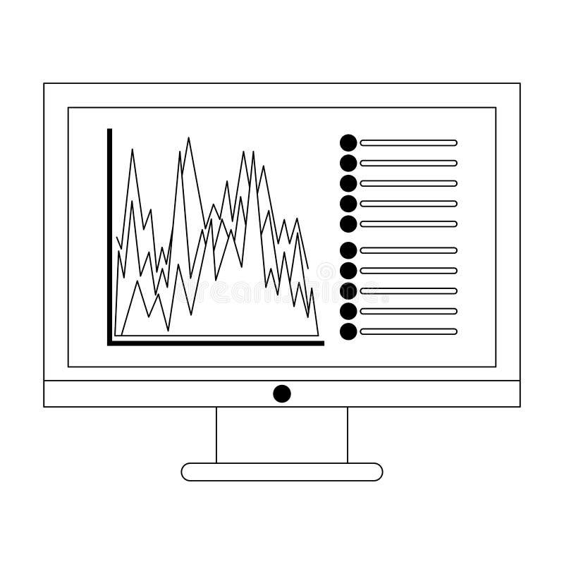 Biznesowych statystyk wykres na ekranie komputerowym czarny i biały royalty ilustracja