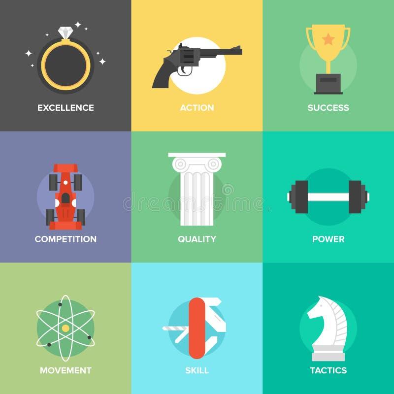 Biznesowych ulepszenie umiejętności płaskie ikony ustawiać royalty ilustracja