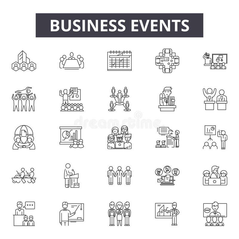 Biznesowych wydarzeń kreskowe ikony, znaki, wektoru set, kontur ilustracji pojęcie royalty ilustracja