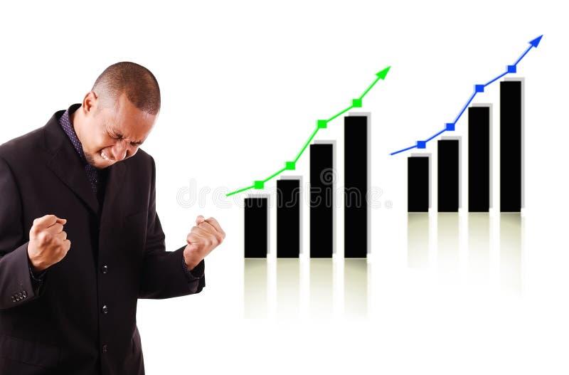 biznesowych wykresów szczęśliwy mężczyzna target687_1_ dwa obraz royalty free