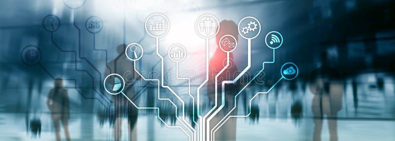 Biznesowych zastosowań ikony na zamazanym tle Pieniężny i handlu Internetowy technologii pojęcie obrazy stock