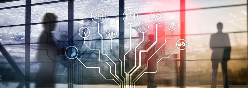 Biznesowych zastosowań ikony na zamazanym tle Pieniężny i handlu Internetowy technologii pojęcie obraz stock