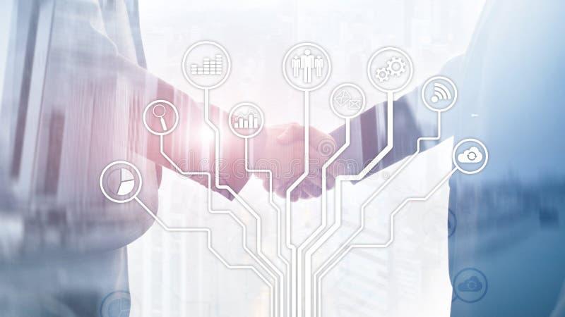 Biznesowych zastosowań ikony na zamazanym tle Pieniężny i handlu Internetowy technologii pojęcie ilustracji