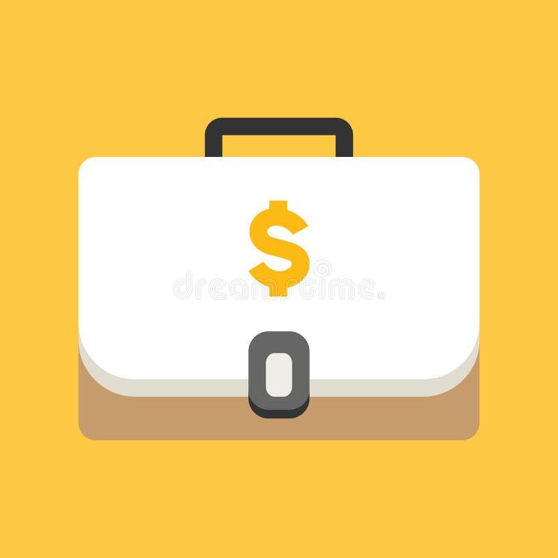 Biznesu, bankowość i finanse ikona, teczka z dolarową waluta symbolu płaską wektorową ilustracją ilustracji