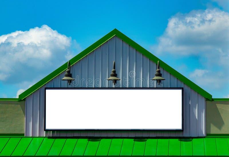 Biznesu billboardu reklamy zieleni szyldowy biel fotografia stock