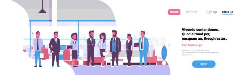 Biznesu brainstorming spotkania grupy drużynowi biznesmeni stoi wpólnie biurową dyskutuje płaską sztandar kopii przestrzeń ilustracja wektor