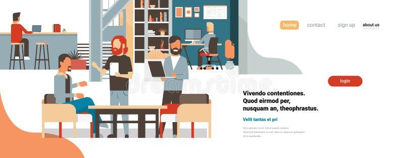 Biznesu brainstorming spotkania grupy drużynowi biznesmeni używa gudgets sztandaru kopii wpólnie biurową dyskutuje płaską przestr royalty ilustracja