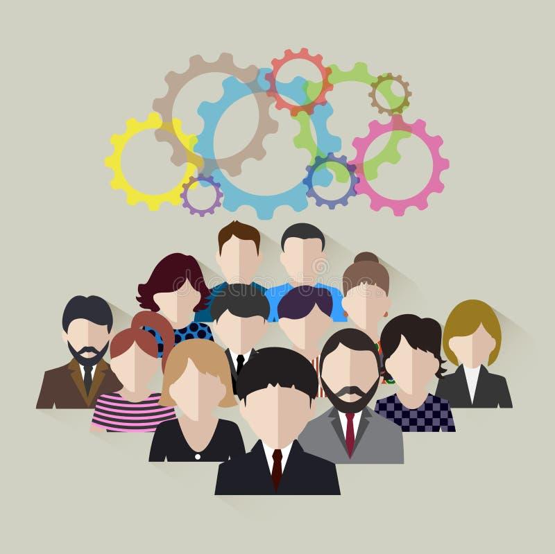 Biznesu drużynowy pojęcie rozwój technologiczna społeczność ilustracja wektor