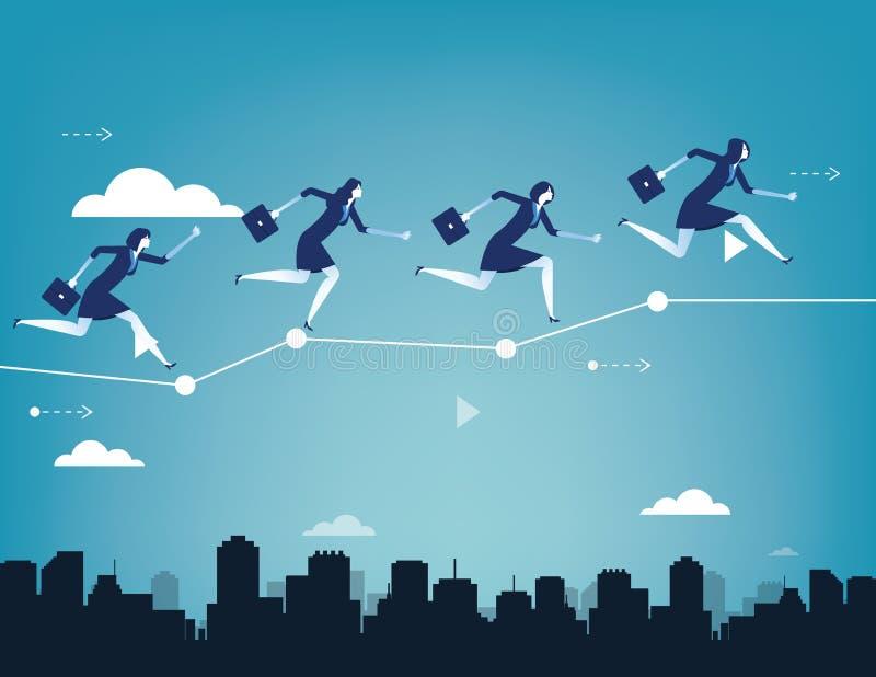 Biznesu drużynowy równoważenie na biznesowej mapie Poj?cie biznesowego sukcesu wektoru ilustracja Płascy charakteru stylu projekt royalty ilustracja