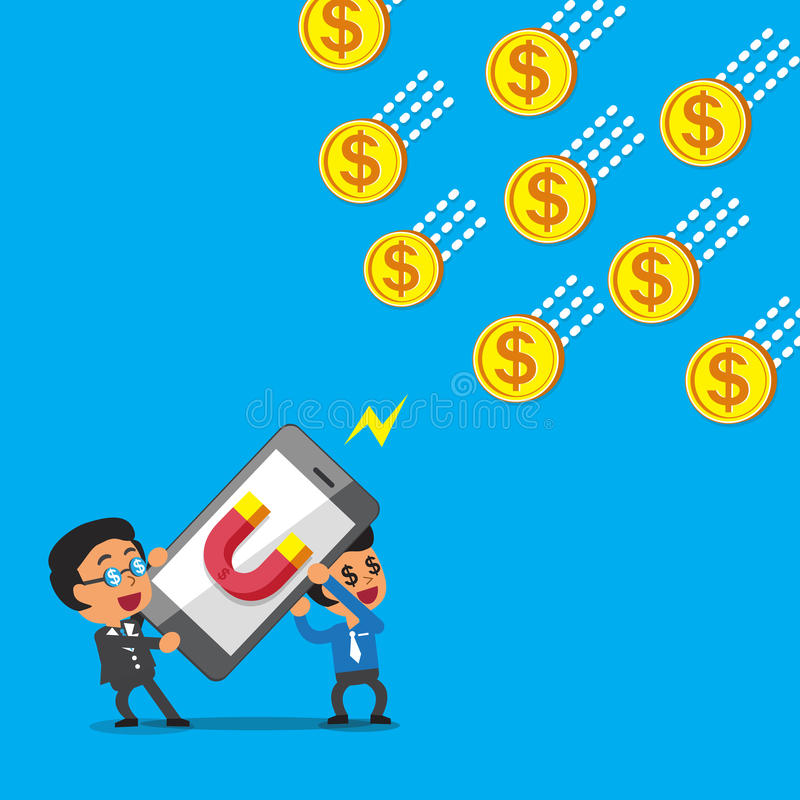 Biznesu drużynowy używa smartphone z magnes ikoną przyciąga pieniądze monety royalty ilustracja