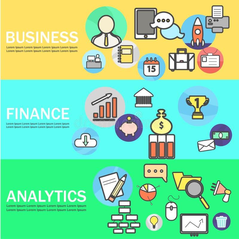 Biznesu, finanse i analityka sztandary z Kreskowymi ikonami, również zwrócić corel ilustracji wektora royalty ilustracja