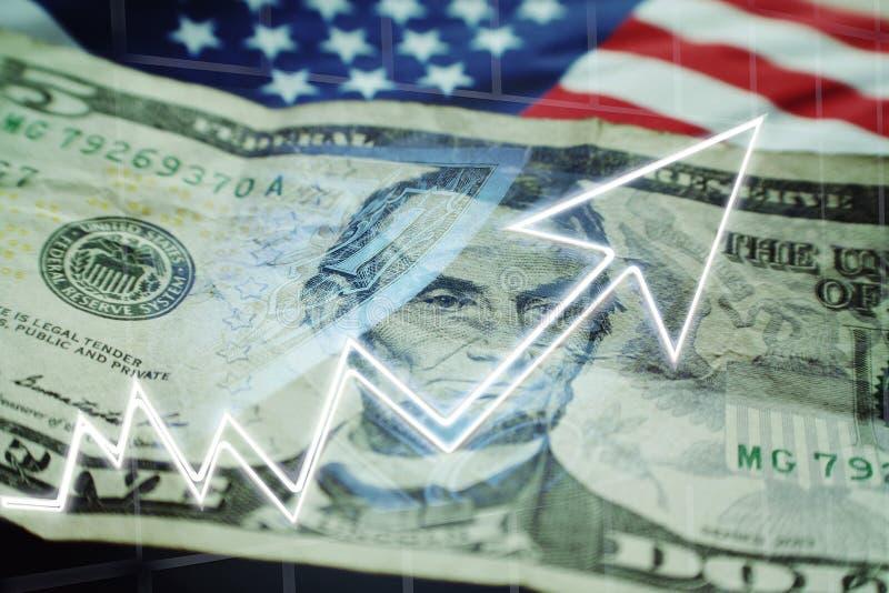 Biznesu & finanse pojęcie Z Pięć, wykres Pokazuje byka rynek Wysokiej Jakości fotografia stock