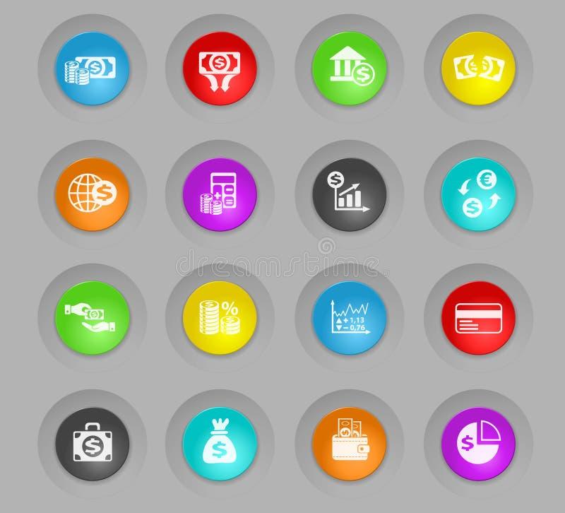 biznesu finansowy barwiony plastikowy round zapina ikona set ilustracja wektor