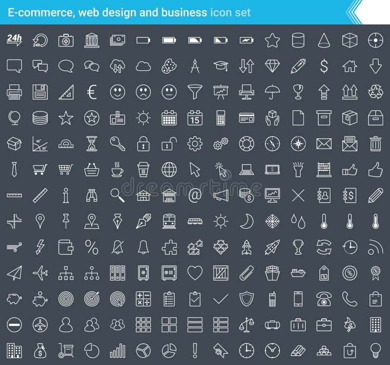 Biznesu, handlu elektronicznego, sieci i zakupy ikony ustawiać w nowożytnym stylu odizolowywającym na ciemnym tle, Uderzenie ikon ilustracja wektor