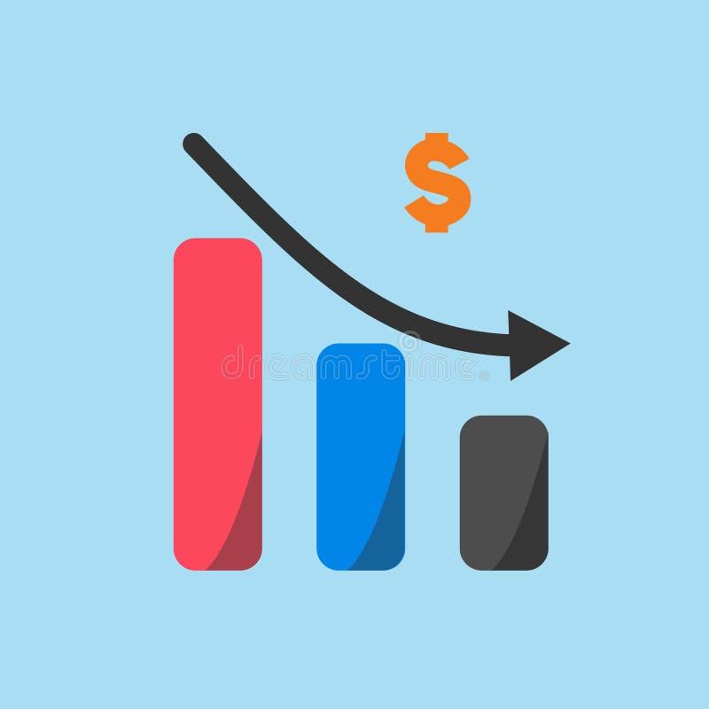 Biznesu i bankowość ikona, zmniejsza tempo wymianę ilustracja wektor