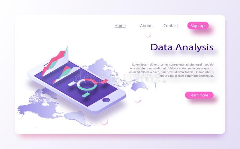 Biznesu i dane mapy, przybywający ewidencyjny isometric Dane analiza, infromation searchning, dane centrum zapytanie ilustracji