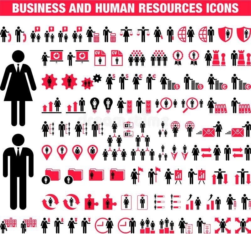 Biznesu i działu zasobów ludzkich ikony ilustracja wektor
