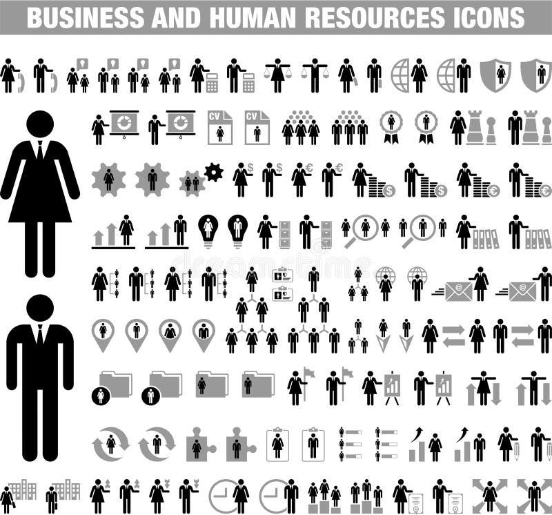 Biznesu i działu zasobów ludzkich ikony royalty ilustracja