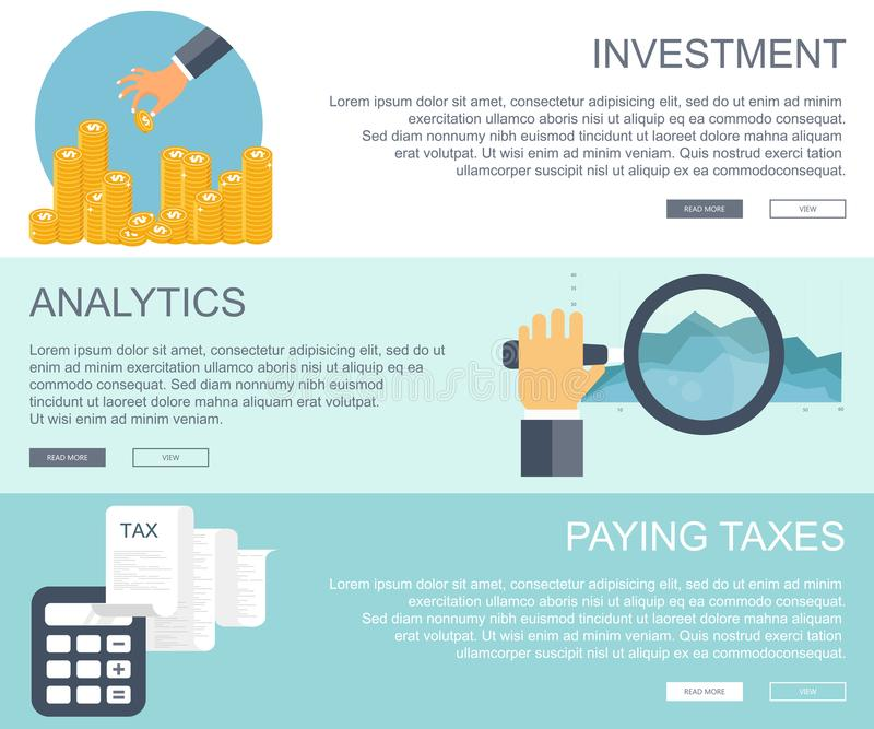 Biznesu i finansów pojęcia Inwestycja, biznesowe analityka, płaci opodatkowywa sztandary Płaska wektorowa ilustracja ilustracji