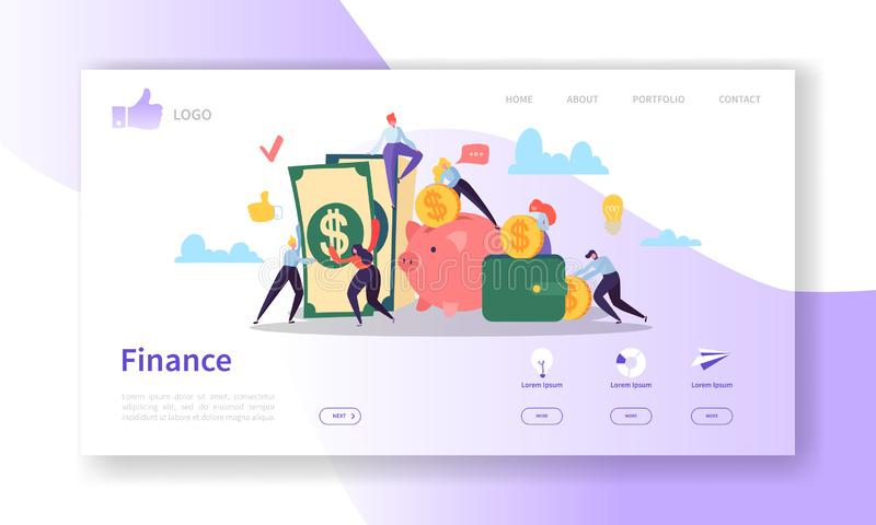 Biznesu i finanse lądowania strony szablon Strona internetowa układ z Płaskimi ludźmi charakterów Robi pieniądze Łatwy redagować ilustracja wektor